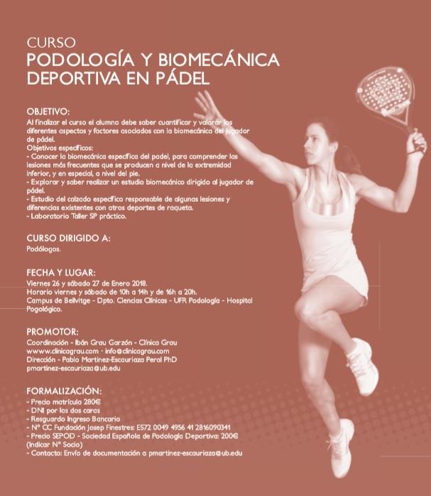 Curs de podologia i biomecànica esportiva en pàdel