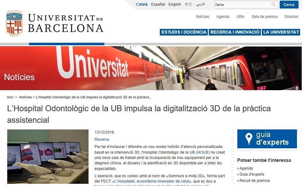 La UB publica a la seva web el projecte en digitalització 3D impulsat per l'Hospital Odontològic UB